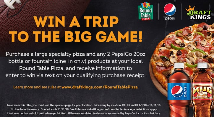 Round Table Pizza Concord.Round Table Pizza To Send One Lucky Fan To The Big Game With