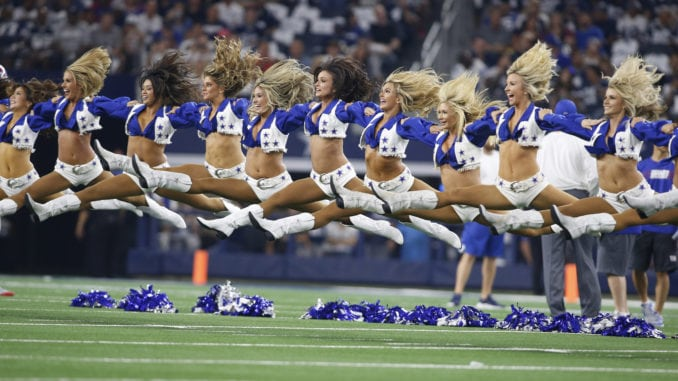 dallas cowboys cheerleaders shine at 2018 home opener pro dance cheer