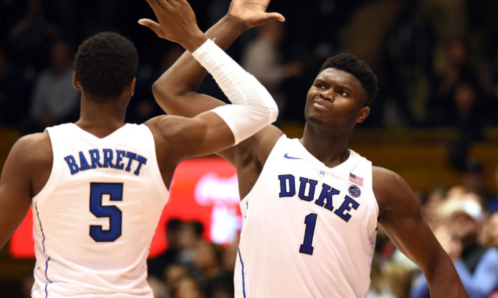 quality design 021cd d34e6 Dec 5, 2018  Durham, NC, USA  Duke Blue Devils forward Zion Williamson (1)  and Duke Blue Devils forward R.J. Barrett (5) high five during the second  half ...