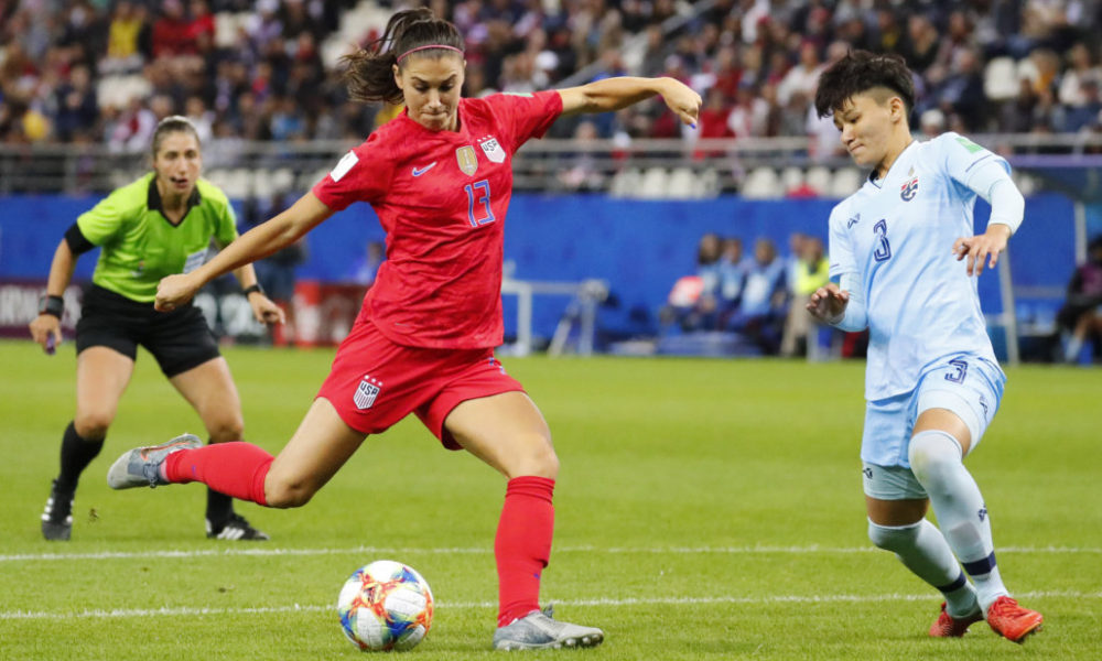 312ca522313 Jun 11, 2019; Reims, FRANCE; United States forward Alex Morgan (13) shoots  and scores a goal past Thailand defender Natthakarn Chinwong (3) during the  ...
